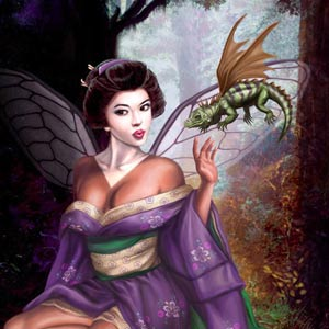 lovely japanese geisha fairy is seated in the forest with a small dragon flying around her head