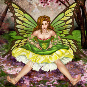 fairy seated under an orchard looks mischievously at viewer