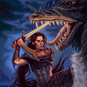 handsome warrior is fighting a sea dragon in the moonlight