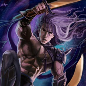good looking purple haired warrior with two broadswords is jumping down