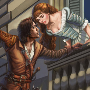 Painted for fun, Sandra loves BBC's The Musketeers! Pictured is Luke Pasqualino as D'Artagnan and Tamla Kari as Constance, in the tradition of Romeo and Juliet