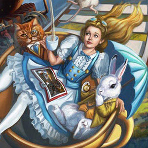 Alice and her Madcap friends, Madhatter, White Rabbit, March Hare and others along for a crazy Wonderland Teacup Rollercoaster Ride!