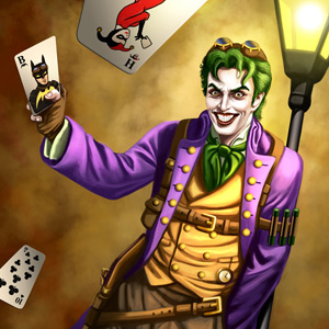 Super Villian Steampunk Joker is leaning against a lamp post and throwing cards