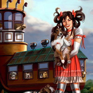 gothic lolita young woman in a steampunk shoe is surrounded by dogs instead of children.