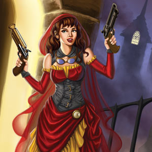 Steampunk little red riding hood is armed with two guns in smoky victorian london