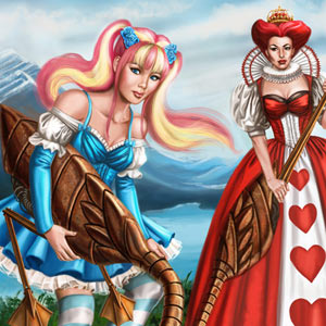 gothic lolita alice in wonderland with queen of hearts with steampunk flamingos