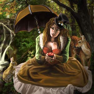 Steampunk snow white is in the woods with the poison apple and a rabbit and fawn