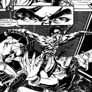 Achilles Storm is attacking street thugs comic page